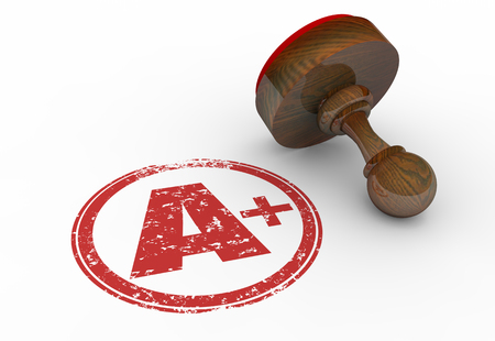 evaluated: A Plus Grade Perfect Score Stamp Letter 3d Illustration