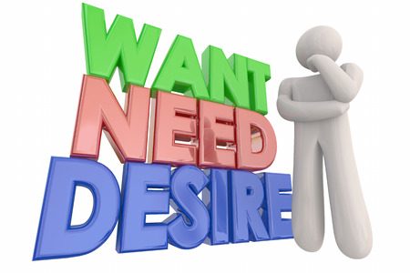 priorities: Want Need Desire Thinking Person Words 3d Illustration