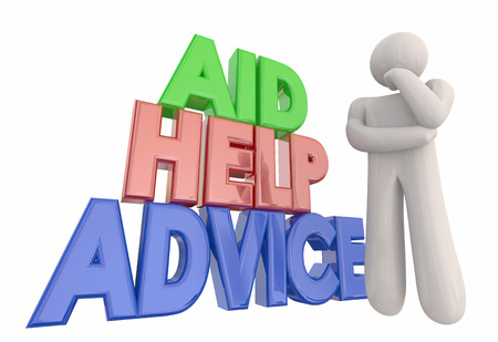 seeking solution: Aid Help Advice Support Assistance Thinker 3d Illustration Stock Photo