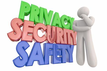 privacidad: Privacidad de seguridad Peligro palabras pensamiento persona Ilustración 3d