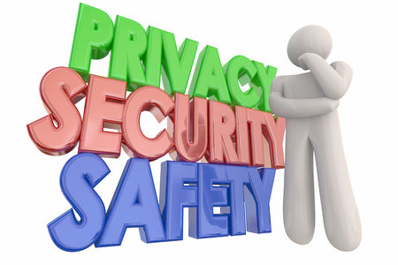 risky: Privacy Security Safety Danger Thinking Person Words 3d Illustration Stock Photo