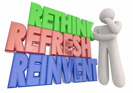 pensador: Rethink Actualizar Reinvent pensador Palabras 3d ilustración Foto de archivo