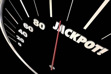 winnings: Jackpot Winnings Money Prize Speedometer Words 3d Illustration