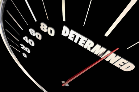 determination: Determination Commitment Achieve Success Speedometer Words 3d Illustration