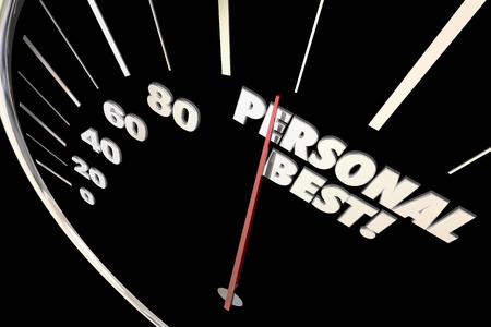 personal record: Personal Best New Record Time Speedometer Words 3d Illustration
