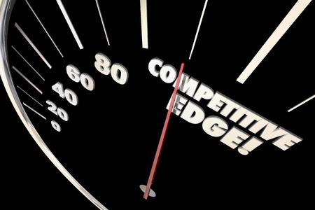 競争力優位速度計の言葉 3 d イラストレーション