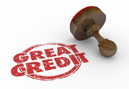 response: Great Credit Score Rating Borrow Money Stamp Words 3d Illustration