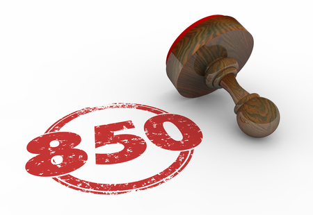 borrower: 850 Top Credit Score Rating Number Stamp 3d Illustration
