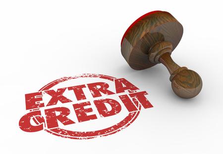 Extra Credit Stamp Bonus Work Task Job Words 3d Illustration 스톡 콘텐츠