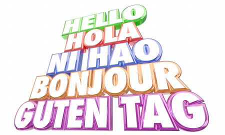 bonjour: Hello Greetings Introduction Languages Ni Hao Bonjour Words 3d Illustration