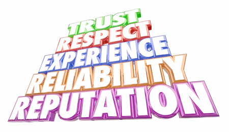 reputation: Trust Reputation Experience Reliability Words 3d Illustration Stock Photo