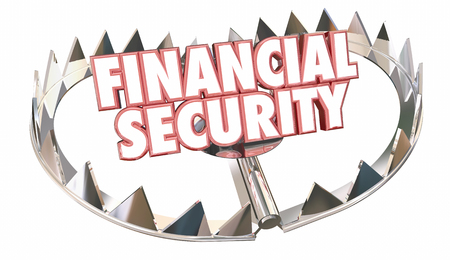 retirement savings: Financial Security Bear Trap Protect Wealth Words 3d Illustration Stock Photo