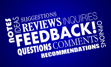 opinions: Feedback Comments Opinions Reviews Word Collage 3d Illustration Stock Photo