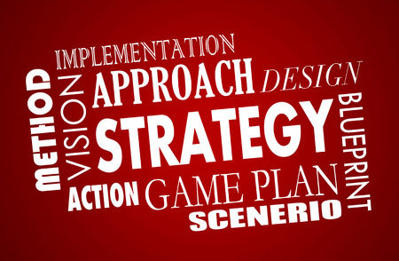 design visionary: Strategy Plan Business Vision Word Collage 3d Illustration