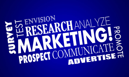 Marketing Promotion Research Analysis Word Collage 3d Illustration