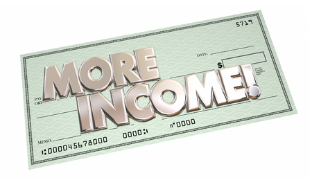 pay check: More Income Additional Increase Money Finance Words Check 3d Illustration Stock Photo