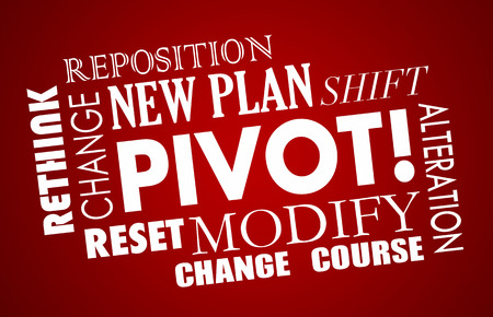 business change: Pivot Change Course New Business Model Words 3d Illustration