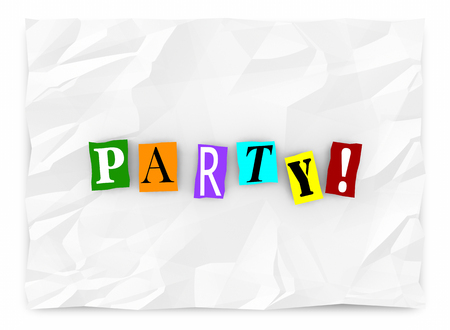 kidnap: Party Invitation Ransom Note Cutout Letters Words 3d Illustration Stock Photo