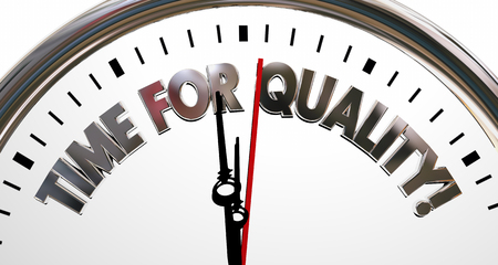 driven: Time for Quality Clock High Value Reputation Words 3d Illustration Stock Photo