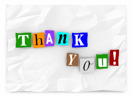 Thank You Note Message Cutout Ransom Letters 3d Illustration Reklamní fotografie