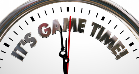 competitions: Its Game Time Clock Start Begin Playing Competition 3d Illustration Stock Photo