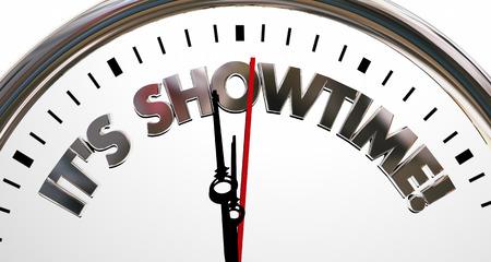 begin: Its Showtime Clock Start Begin Program Words 3d Illustration