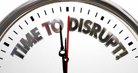 Time to Disrupt Change Innovate Rethink Clock 3d Illustration