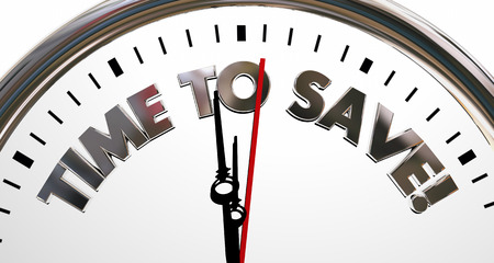 retire: Time to Save Clock Sale Savings Money Words 3d Illustration