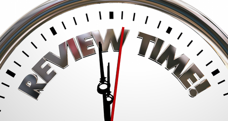 top animated: Review Time Clock Evaluation Rating Words 3d Illustration