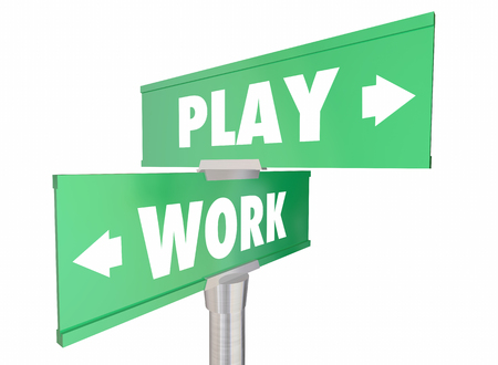 equal opportunity: Work Vs Play Two Way Road Signs Words 3d Illustration