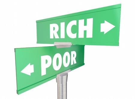 versus: Rich Vs Poor Wealth Versus Poverty Signs Words 3d Illustration