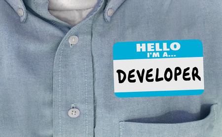 meet and greet: Developer Name Tag Sticker Shirt Word 3d Illustration
