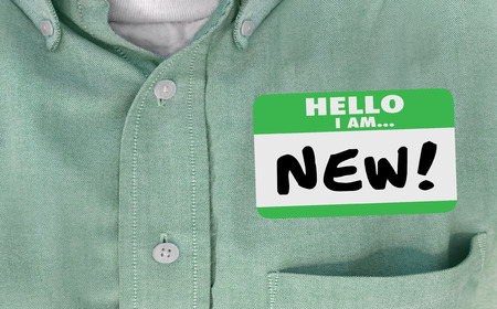 rookie: Hello I am New Words Sticker Name Tag 3d Illustration