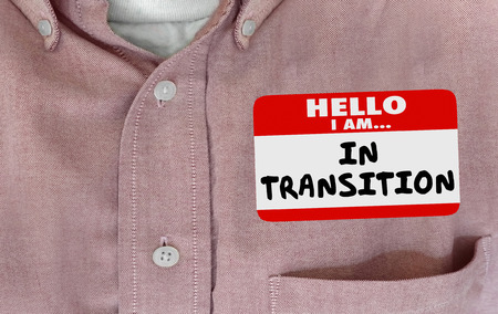 Hello Im in Transition Change Evolving Name Tag 3d Illustration Archivio Fotografico