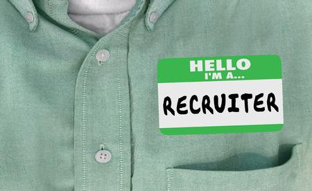 Hallo Im een Recruiter Name Tag inhuren 3d Illustratie