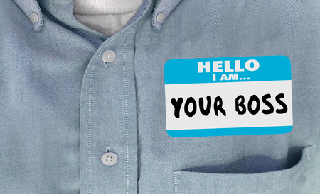 oversee: Hello Your Boss Words Name Tag Sticker Shirt 3d Illustration