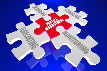 oversight: Process Management Forecast Schedule Plan Puzzle Words 3d Illustration Stock Photo