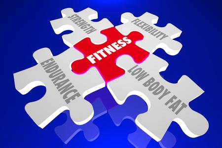 principles: Fitness Elements Principles Words Puzzle Pieces 3d Illustration