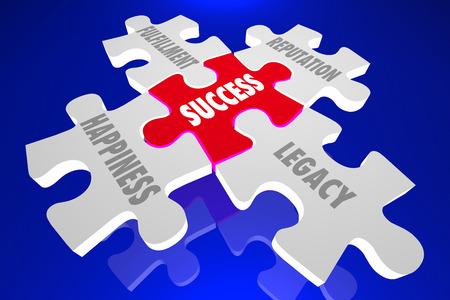 happiness or success: Success Elements Principles Puzzle Pieces Words 3d Illustration Stock Photo