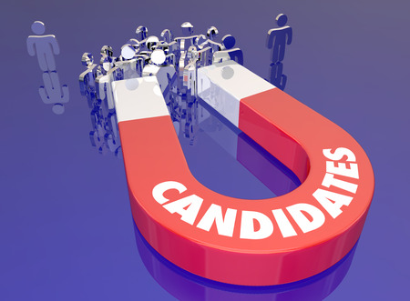 candidates: Candidates Attract Job Applicants Magnet People Word 3d Illustration