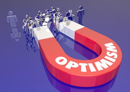 optimismo: Imán optimismo atraer a la gente Palabra Ilustración 3d