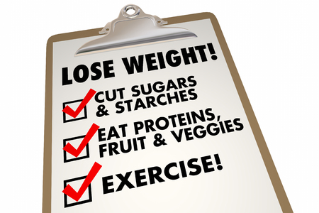 weightloss plan: Lose Weight Checklist Clipboard Eat Exercise Words 3d Illustration