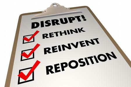 disruption: Disrupt Rethink Reinvent Checklist Words 3d Illustration