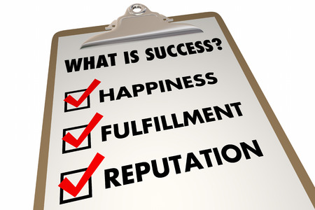 succeeding: Success Checklist Happiness Fulfillment Words 3d Illustration