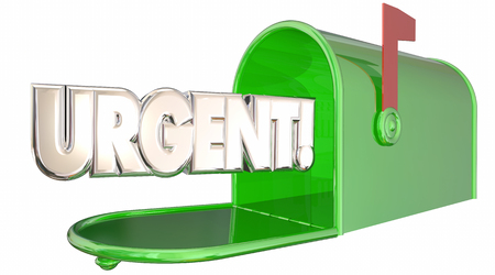 timely: Urgent Message Note Letter Mailbox Communication 3d Illustration