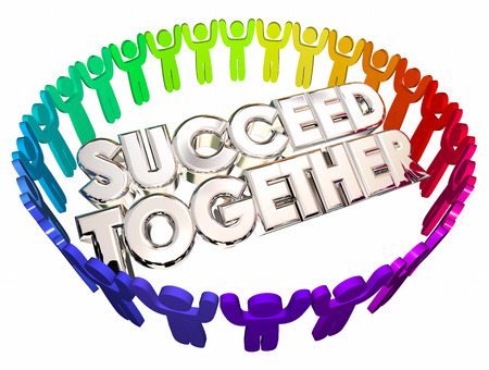 succeeding: Succeed Together People Working Cooperation 3d Illustration Stock Photo