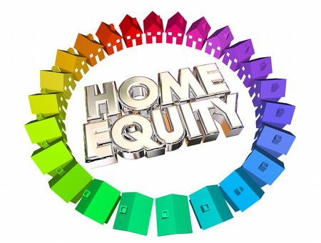 equidad: Saldo de activos con garant�a de hipoteca Valor Ilustraci�n 3d