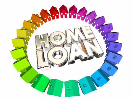 home value: Home Loan Borrow Money Mortgage Buy House 3d Illustration Stock Photo
