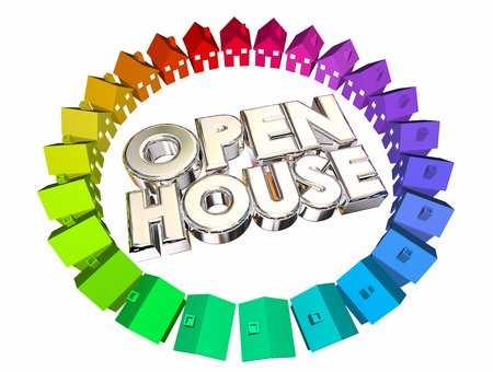 open house: Open House Homes for Sale Words 3d Illustration