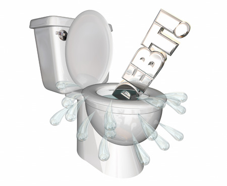 flush toilet: Debt Money Owed Bills Spending Flush Money Toilet 3d Illustration